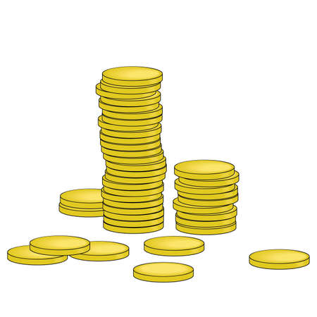 dime: Vector illustration of gold coins