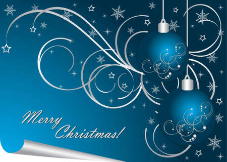 blue bow: Vector luxury Christmas background