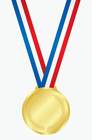 Vector illustration of gold medal with ribbon   Vector