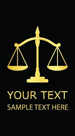 balanza de la justicia: Ilustraci�n vectorial de oro la justicia escalas (tarjeta de visita)