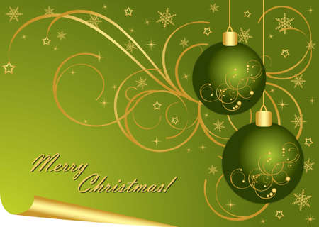 Merry Christmas green background   Vector