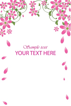 Vector frame with pink flowers Vector
