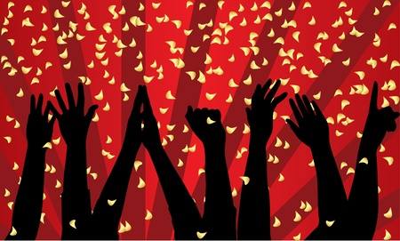 applause: Vector festive background with silhouette of hands
