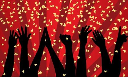 Vector sfondo di festa con silhouette delle mani