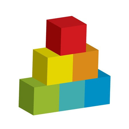 wood blocks: Vector illustration of tower