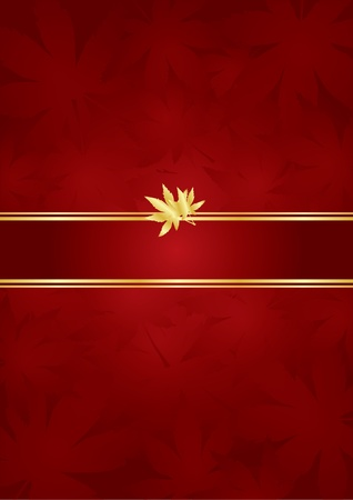 Red gold luxury background with leaves   Vector