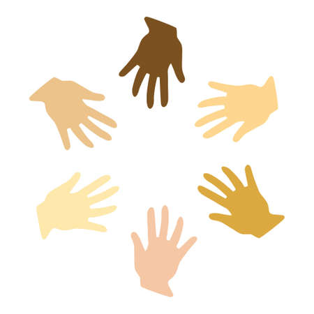homogeneity: Vector illustration of different hands (symbol of peace) Illustration