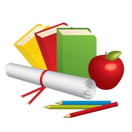 bibliophile: Vector illustration of 3d School Supplies and red apple