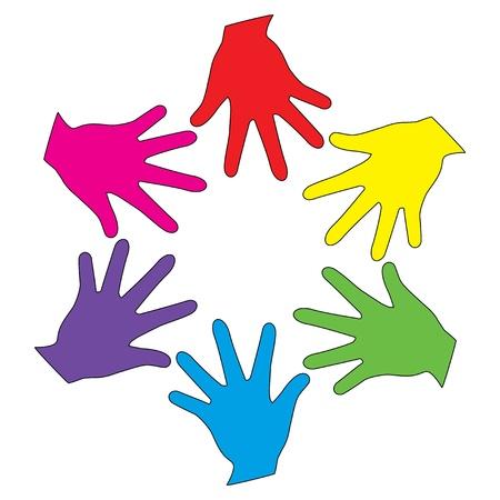 tolerance: Vector colorful heands