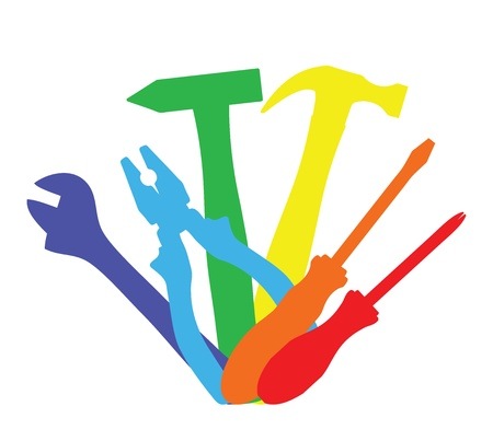 machinist: Vector illustration of colorful work tools   Illustration