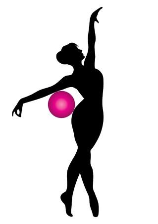 gimnasia aerobica: Vector silueta de gimnasta con la bola de color rosa