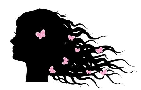 Vector silhouette della ragazza con le farfalle nei capelli