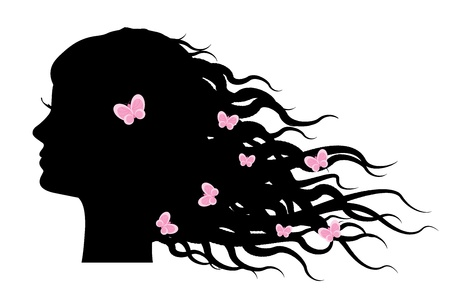 Vector silhouette of girl with butterflies in hair   Vector