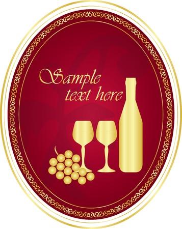 alcoholismo: Vector de oro vino de la etiqueta