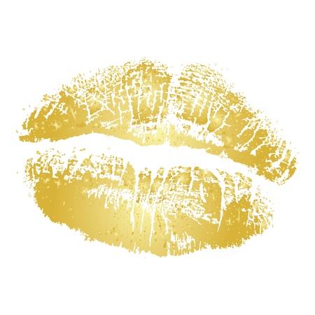 Vector gold lipstick kiss Illustration