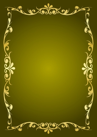 golden border: Luxury green background