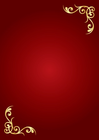 victorian christmas: Red   gold luxury background