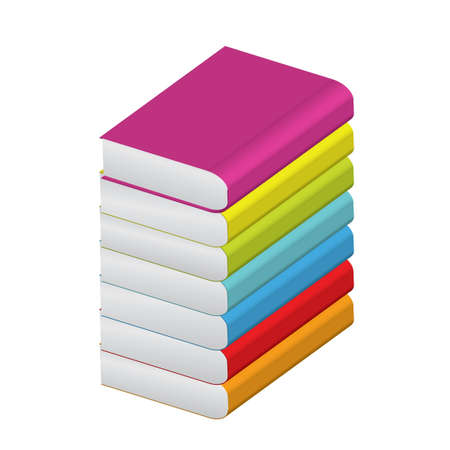 workbook: illustration of stack of colorful books