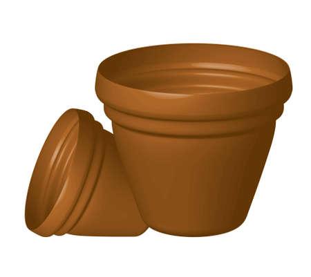 clay pot:  illustration of flowerpots