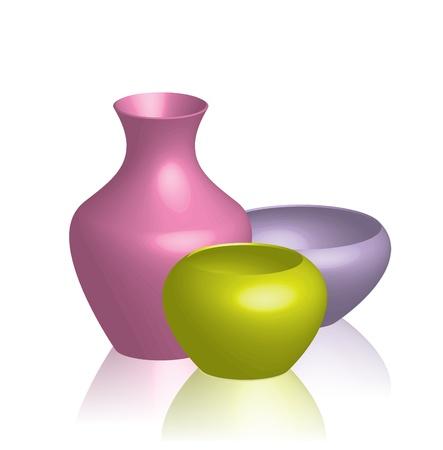 ollas barro: ilustraci�n de floreros de colores