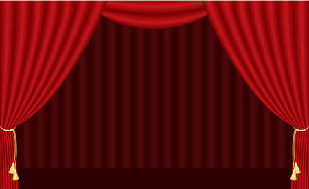 theater auditorium:  illustration of red curtain Illustration