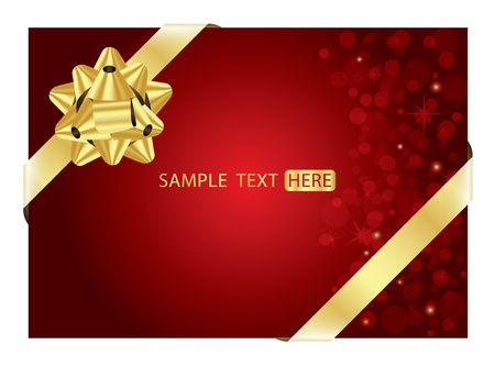 red background with gold bow Stock Vector - 12670498