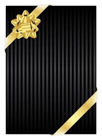 black bow: black background with gold bow   Illustration