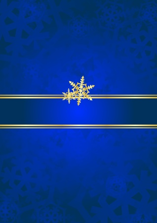 Blue   gold luxury background with snow falkes   Vector