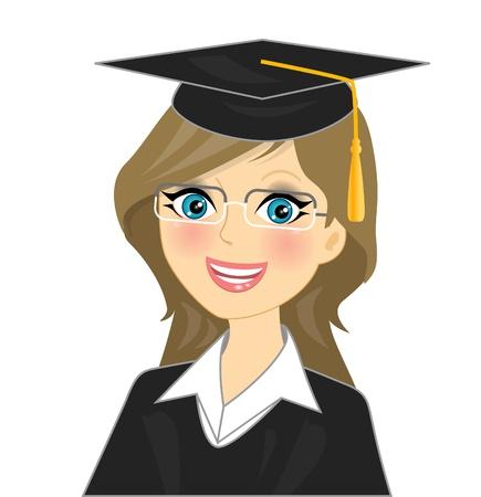estudiantes de colegio: ilustraci�n - la graduaci�n ni�a