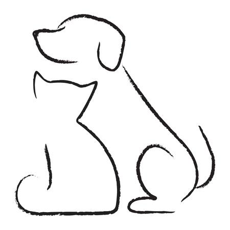 perro labrador: Icono del gato del perro Vectores