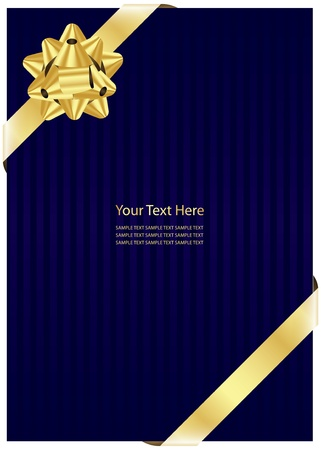 blue background with gold bow   Vector