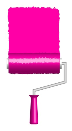 illustration of pink paint roller   Stock Vector - 12670489