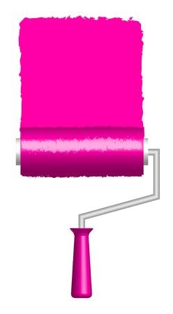 tinting:  illustration of pink paint roller   Illustration