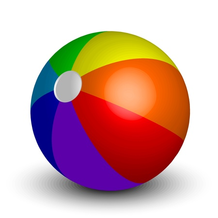 throwing ball: illustration of inflatable beach ball