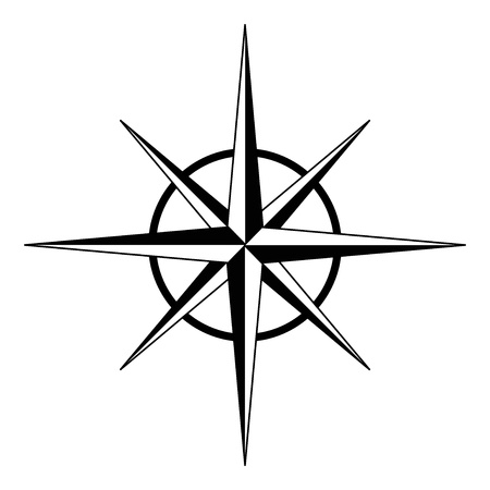compass rose: Black compass rose Illustration