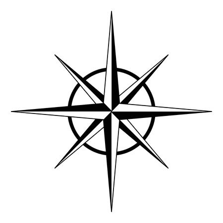 brujula: Negro rosa de los vientos Vectores