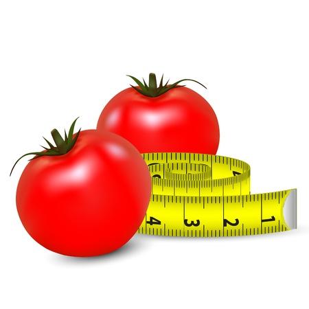 Diète - illustration de tomates et un ruban à mesurer Banque d'images - 12670839