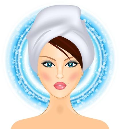 illustration de la jeune fille avec une serviette
