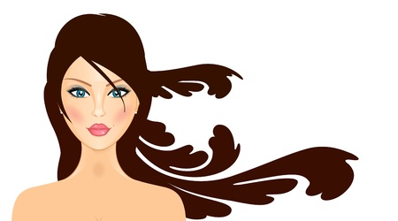 illustration of girl with long hair Vector