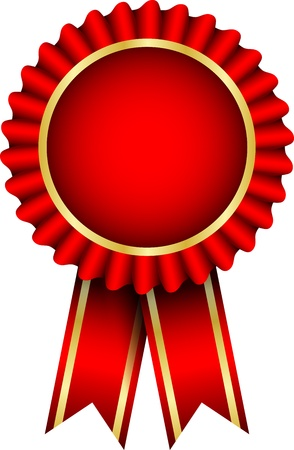 red badge with ribbon Vector