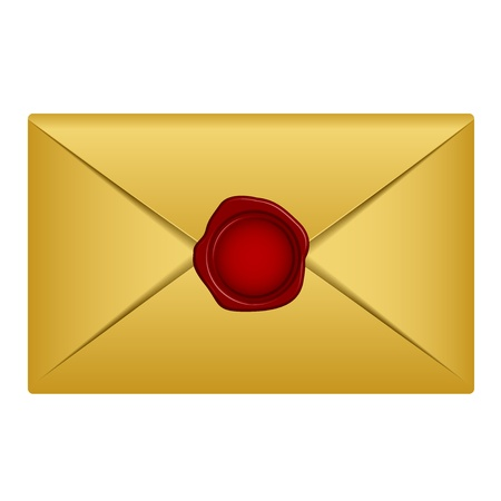 sobres para carta: carta de oro Vectores