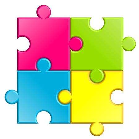 piezas de puzzle: ilustración de rompecabezas Vectores