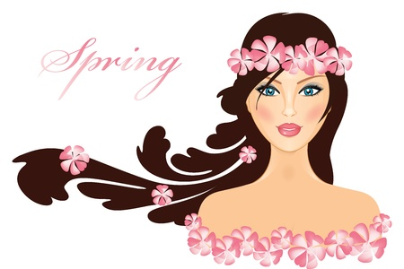 beauty model: Spring - illustration of girl with flowers