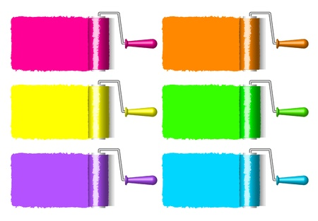 colorful paint rollers Stock Vector - 12670933