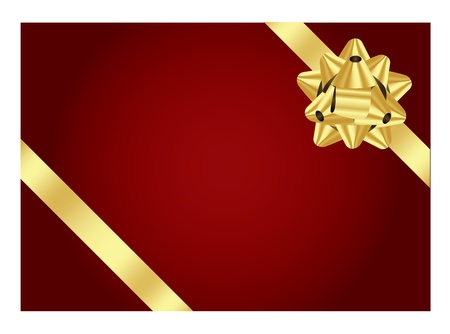 red background with gold bow