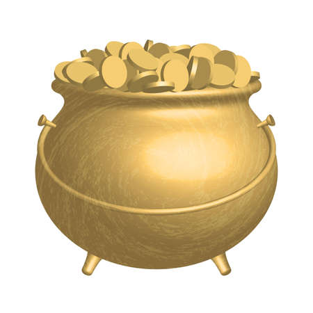 gold pot with coins Vector