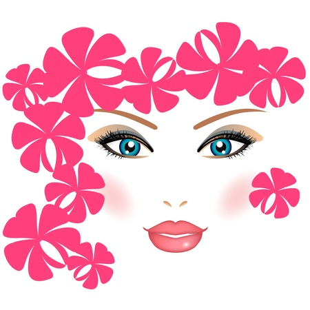 hair spa: Girl with flowers Illustration