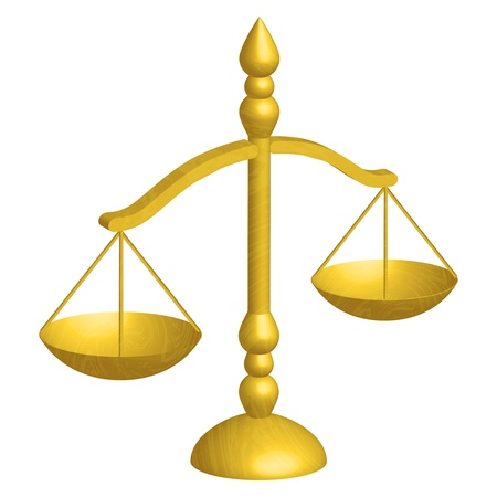 trial balance: illustration of justice scales