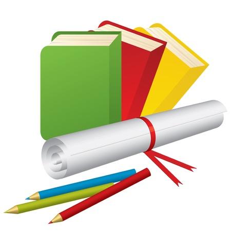 grade: illustration of 3d School Supplies