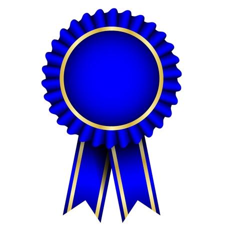 remise de prix: badge bleu avec un ruban